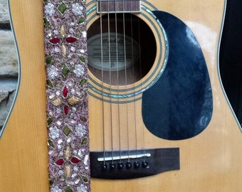 Pink and Bronze Beaded Guitar Strap; Statement Guitar Strap; Unique Custom Guitar Straps; Handmade Straps; Gift for Her; Guitar Straps