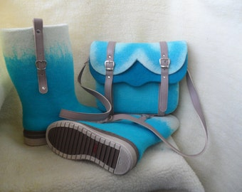shoes and wool handbag