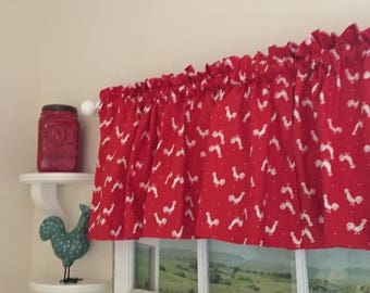 Roosters on Red Kitchen Valance ~ 42 Inches Wide