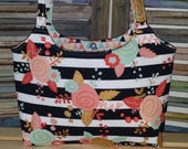 Flowers and Bold Strip Purse