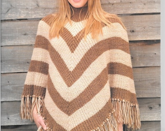 King Cole pattern for ladies poncho in either chunky or aran wool.  No.2775