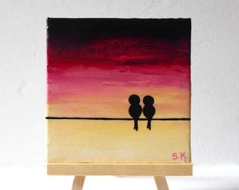 Mini Canvas Painting, Love birds painting, Purple sunset art, Birds on wire art Mini Canvas art, Love birds art, Desktop decor Mini bird art