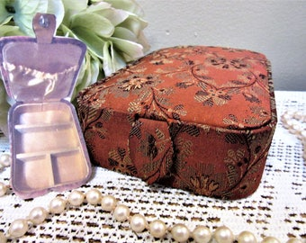 Sale Jewelry Box Travel Case Storage Trinkets Silk Burnt Orange Vintage