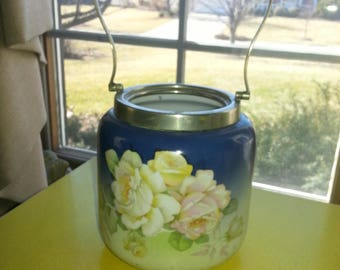 "Antique Hand Painted Porcelain and Silver Plated Victoria Czecoslovakian ""Rose"" Handled Biscuit Jar"