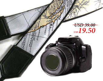 California Map Camera Strap. Black DSLR / SLR  camera strap.