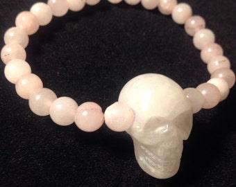 Rose Quartz crystal skull stretch bracelet