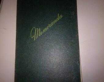 Vintage Hard Cover Memorandum Book