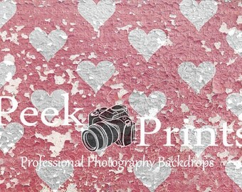 "Valentine Backdrop 6ft.x4ft. Pink Hearts Vinyl Photography Backdrop ""Peeling Shabby Pink Hearts"""