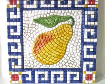Vintage Ceramic Wall Hanging/Trivet/ Mosaic Pear Design