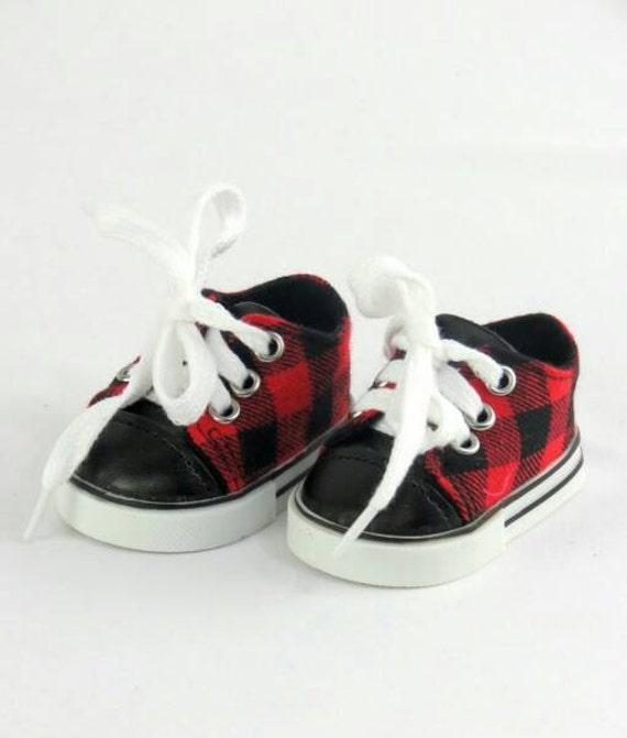 boy doll tennis shoes and black plaid
