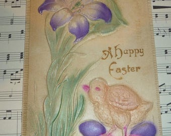 ON SALE Heavily Embossed Easter Postcard With Purple Lily, Eggs and Chick