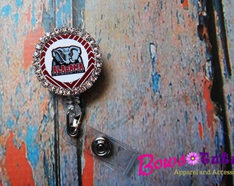 Alabama Crimson Tide Football Retractable Badge Holder Rhinestone Bottlecap - Choose Image