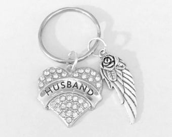 Husband Angel Gift, Guardian Angel Keychain, In Memory, Sympathy Gift Keychain