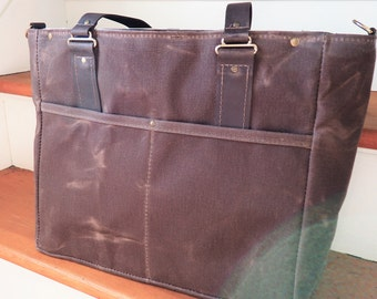SALE / Waxed Canvas Diaper Bag / Bear Print Lining