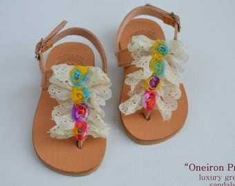 "Girls Leather Sandals""Baby Dioni""-Sandals for girls-Girls Flowers Shoes-baby flower sandals-baptism shoes"