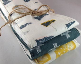 Burp cloths, owls, forest, teal, trees, pine, outdoors, baby boy