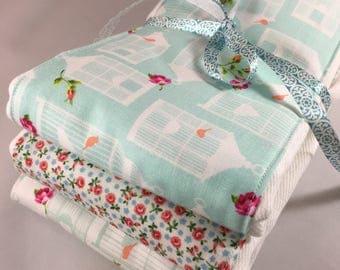 Burp cloths, shabby chic, bird, birdcage, roses, aqua, baby shower