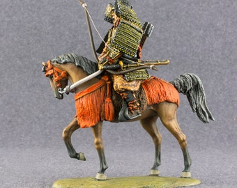 Action Figurine Japanese Samurai Archer on Horse Japanese Medieval 1/32 Scale Cavalry Toy Soldier 54mm Tin Metal Miniature - Free Shipping