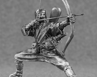 Medieval Figures - Japanese Ninja wit Bow Collection Toy Soldier in scale 54mm Tin Metal 2 1/4 inches Action Figurines