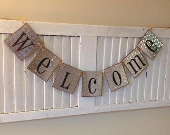 Welcome Banner Garland Bunting Sign Word Art Industrial Silver Color Chip Board Cards