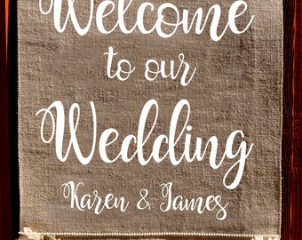 Custom Banner, Wedding sign, Wedding banner,  Welcome to our wedding sign