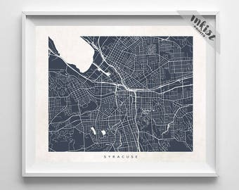 Syracuse Map, New York Print, Syracuse Poster, New York Art, NY, Modern Art, Artwork For Kitchen, Posters For Baby Room, Christmas Gift