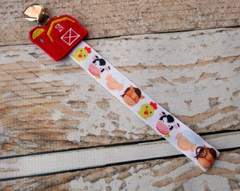 Baby Pacifier Clip - Sweet Farm Animals, Cow Sheep Chick Horse, Farming, Country Boy Country Girl (Shabby Rose or Feltie Option)