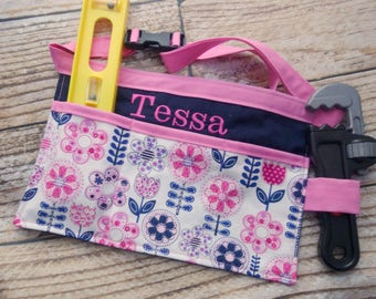 Personalized Tool Belt Kitchen Art Apron Utility Belt for Toddler Child Kids Girl, Toy Handmade Gift, Buckle- Navy and Pink Flowers