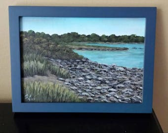 "Beach on Peaks Island, Maine. 5"" x 7"" Framed Acrylic Painting on Canvas Board"