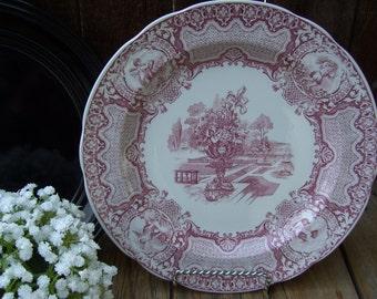 Spode Victorian Series,Cranberry Transfersware Plates, Seasons OR Portland Vase Plates,England,Ironstone Transferware Archive Collection