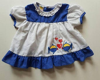 Vintage girls top. Polka dot fish accented 12 months