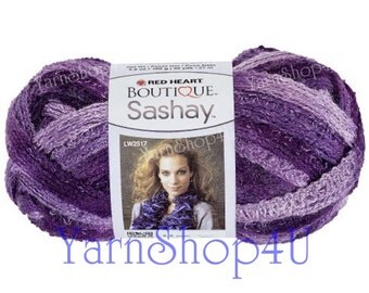 BOOGIE, Purple Boutique Sashay Ruffle Yarn, Purple Variegated Red Heart Sashay, lace yarn, ribbon fluffy fluffy scarf, Rumba Scarf Yarn