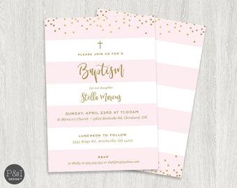 Baby Boy or Girl Baptism | Christening Invitations | DIY | Printable 5x7