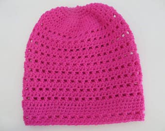 Handmade Crochet Stretchy Slouchy Hat Girls 4 years - 6 years Hot Pink Boho Hat Slouch Hat Hipster Hat