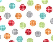 Colorful Dot Fabric, Red, Green, Orange, Gray, Turquoise Dots, Benartex Frosty Forest P4774 09, Cherry Guidry, Dot Quilt Fabric, Cotton