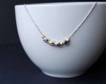 Sterling Silver & Vermeil Faceted Nugget Bead Necklace, Sterling Silver Necklace, Faceted Bead Necklace