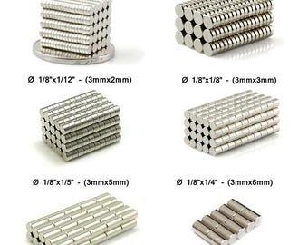 """1/8""""x1/48"""" - 1/8""""x1/24"""" - 1/8""""x1/16"""" - 1/8""""x1/12"""" - 1/8""""x1/8"""" - 1/8""""x1/6"""" - 1/8""""x1/5"""" - 1/8""""x1/4"""" Neodymium NdFeB Disc Tiny Magnet, Magnets"""