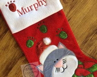 Personalized cat stocking, cat christmas stocking