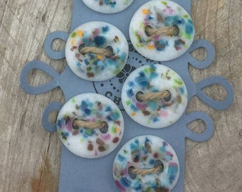 Fused Glass Buttons, Glass Buttons, Glass Frit Buttons, Handmade Buttons, Sewing Buttons, Knitting Buttons, 1 inch Buttons, Button Set