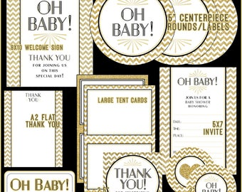Art Deco Oh Baby! Gold Glitter Chevron Baby Shower // Instant Download Shower Kit