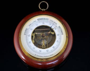 Vintage Barometer / Mid Century German Weather Station / Temperature and Humidity Guide