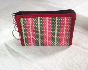 Hand woven zipper pouch, coin purse, wallet