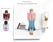 """Book Lover (Hardcover 8x10"""" Blank Journal) Select Your Hair color/Skin Tone"""