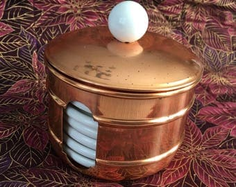 White Porcelain Coasters in  Lidded Copper Container, Make in Portugal, Menjamin Medvin Inc, White Porcelain Coasters, 6 White Coasters
