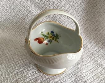 Royal Danube Floral  Porcelain Basket, Floral Ceramic Basket, Gold Trim, Petite Porcelain Basket, Small Ceramic Basket