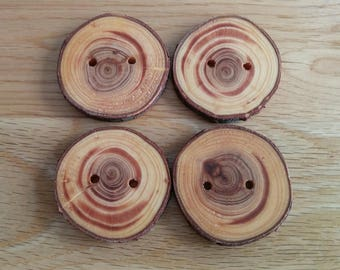 4 Handmade Thuja Wooden Buttons 40 mm With Bark Tree Branch Buttons Sewing Knitting Craft UK Seller