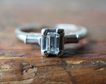 1960s 14K Vintage .20 Carat Emerald Cut Diamond Engagement ring in White Gold