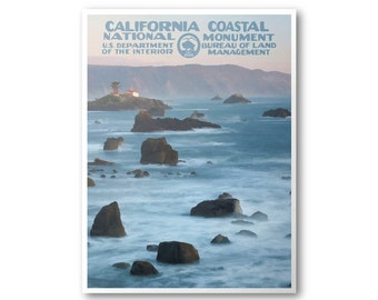 California Coastal National Monument Travel Poster