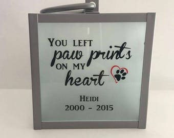 Lantern | Pet Memorial | Loss of a pet | Paw prints on my heart