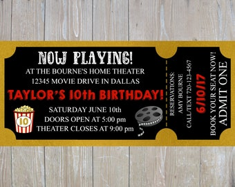 Movie Birthday Invitation // Movie Ticket Invitation // Movie Party Invitation // Movie Birthday // Movie Theater Invitation // Movie Party
